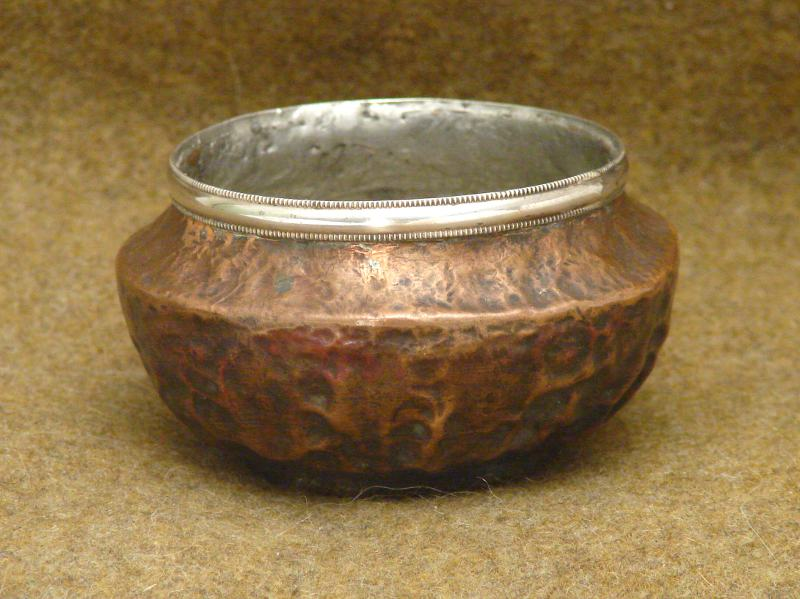 copper bowl with silver edge